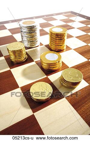 Stock Images Of Chocolate And Money Coins On Chess Board 05213cs U
