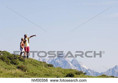 Austria Salzburger Land Mature Couple Hiking Stock Photograph