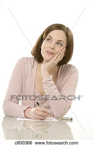 young woman writing letter portrait