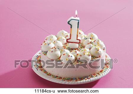 Birthday Cake Cream With Burning Candle