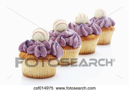 Stock Image Of Close Up Of Buttercream Black Currant Cupcake With