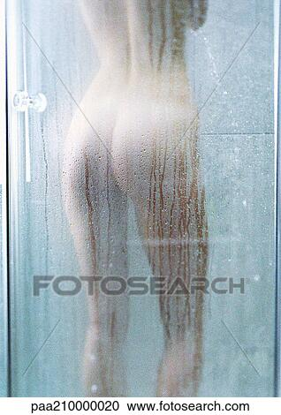Woman In Shower Rear View Stock Photography Paa210000020