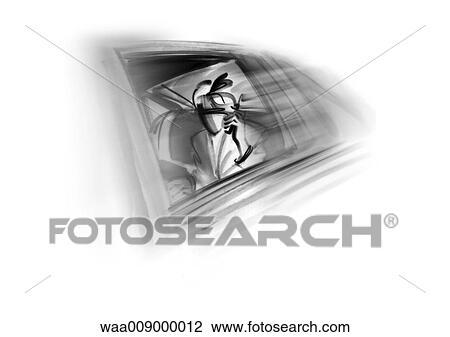 Dessin Noir Blanc Illustration Femme Affaires Limousine Directeur Business Dessin
