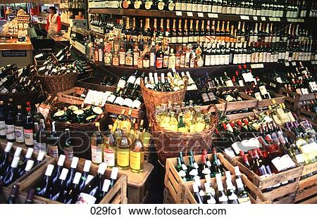 Stock Photography Of Shop Display Of Wine Bottles 029fo1 Search