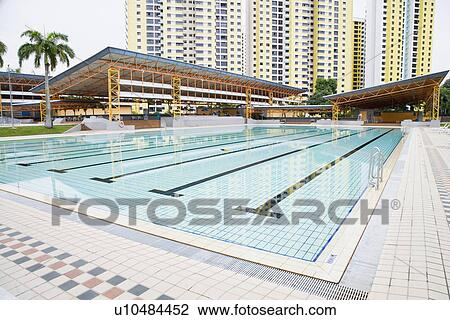 Swimming pool in front of buildings, Clementi Swimming Complex, Clementi,  Singapore Stock Image